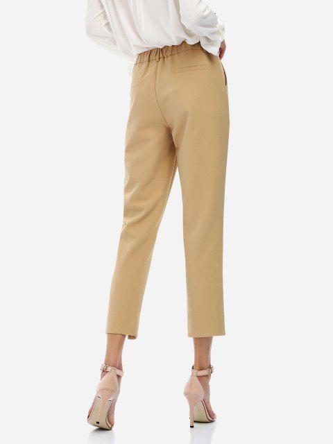 shop ZAN.STYLE Ankle Length Cropped Pants - KHAKI XL Mobile