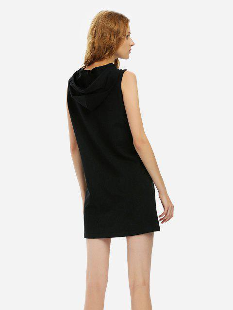 lady ZAN.STYLE Sleeveless Hooded Dress - BLACK XL Mobile