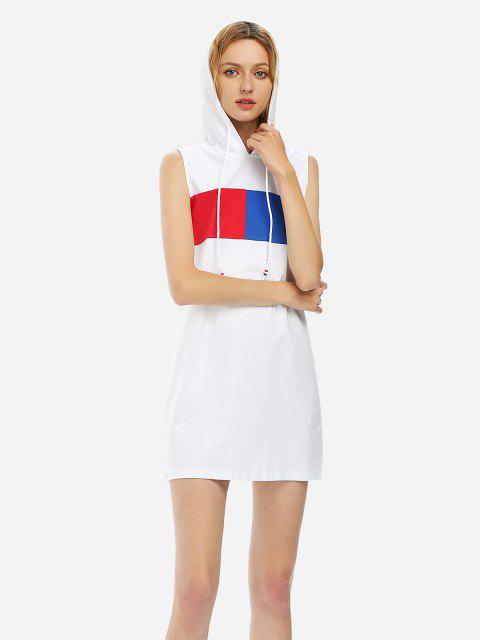 Robe à Capuche à Cordon Graphique sans Manches - Blanc L Mobile