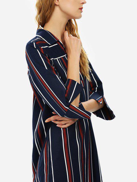 ladies ZAN.STYLE V Neck Shirt Dress - BLUE STRIPE L Mobile