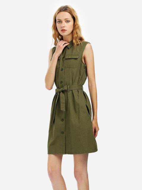 Cinturão Vestido Sem Mangas - Exército verde M Mobile