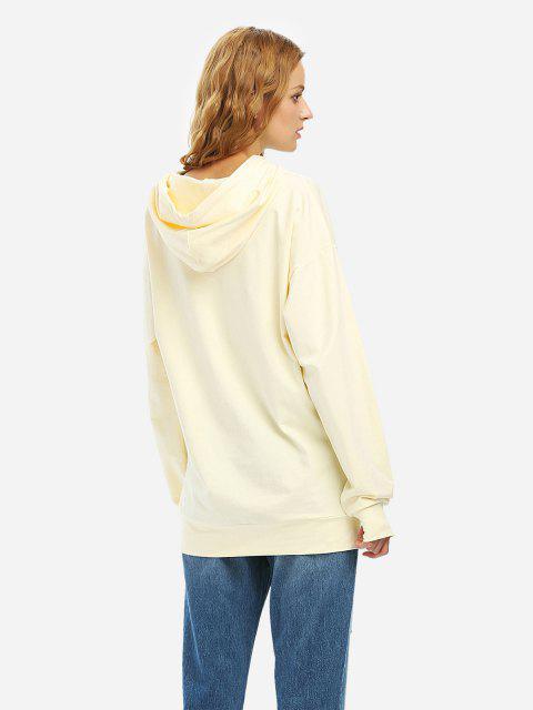 ZAN.STYLE Drawstring Fleece Hoodie - 米色 L Mobile