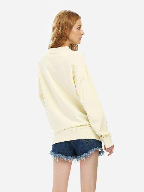 ZAN.STYLE Loose Fleece Sweatshirt - 米色 S Mobile