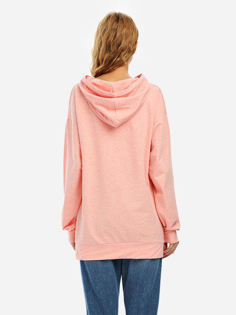 ZAN.STYLE Drawstring Fleece Hoodie - 希瑟粉紅色 S Mobile