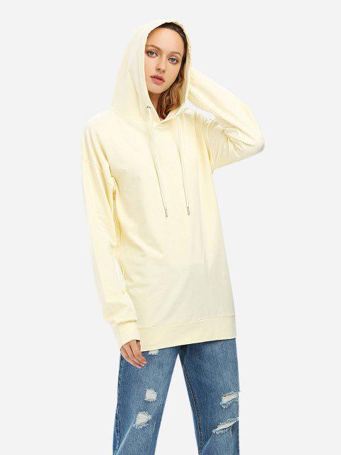 ZAN.STYLE Drawstring Fleece Hoodie - 米色 S Mobile