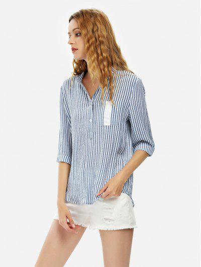 ZAN.STYLE Blouse Shirt - Blue Stripe Xl
