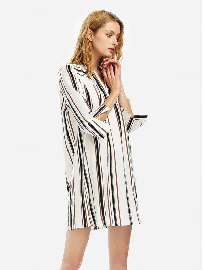 ZAN.STYLE V Neck Shirt Dress - Black White Striped S