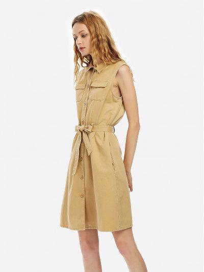 ZAN.STYLE Women Sleeveless Shirt Dress