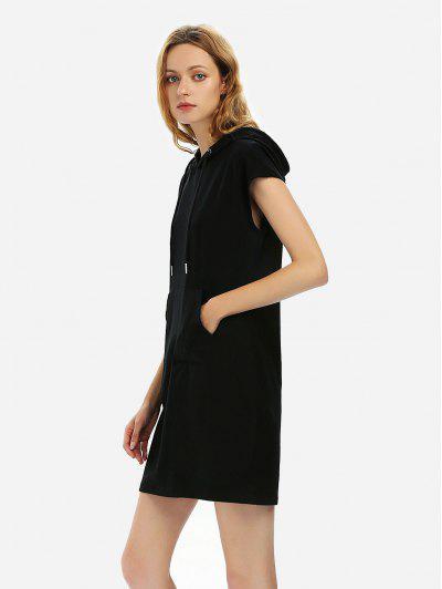 ZAN.STYLE Sleeveless Drawstring Dress Hoodie - Black L