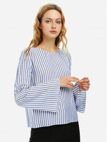طويل الأكمام جرس كم مخطط بلوزة قميص - أزرق أبيض Striped M