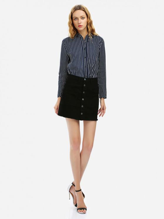 ladies ZAN.STYLE Button A Line Mini Skirt - BLACK S