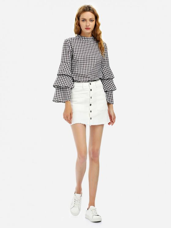 online Button A Line Mini Skirt - WHITE M
