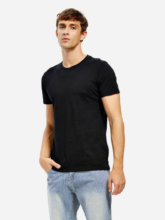 T-shirt com Gola Redonda e Fenda Lateral - Preto L