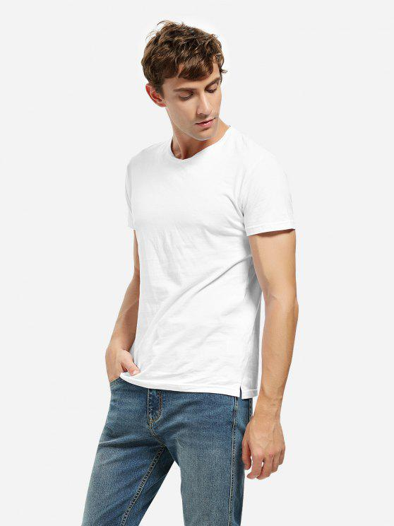 ladies Crew Neck Side Slit T-shirt - WHITE L