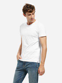 T-Shirt à Col Rond Avec Fente Latérale - Blanc S