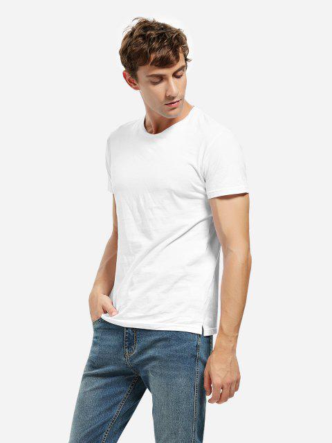 ladies Crew Neck Side Slit T-shirt - WHITE L Mobile