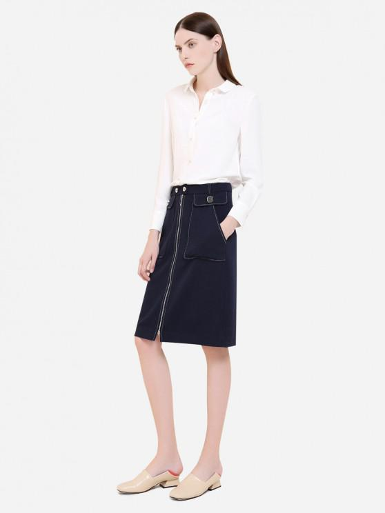 sale ZAN.STYLE Button Front Polyester Blouse - WHITE L