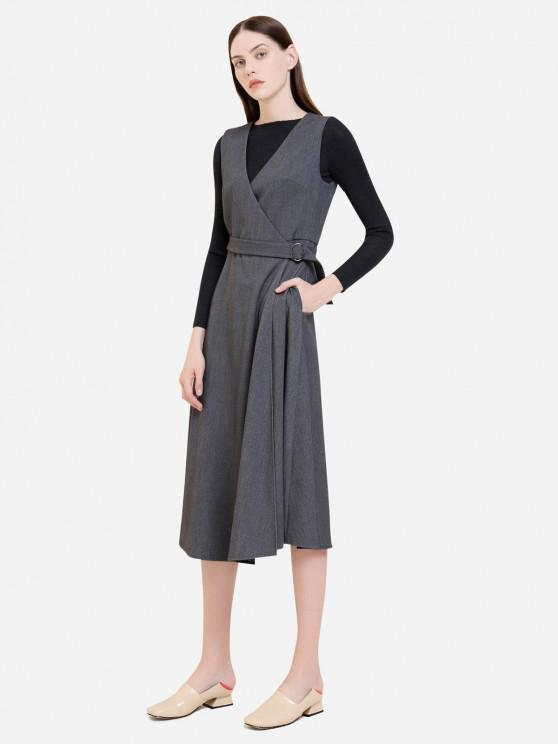 chic ZAN.STYLE Sleeveless Belted Dress Coat - GRAY XL