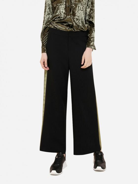 buy ZAN.STYLE Wide Leg Green Side Stripe Palazzo Pants - BLACK S