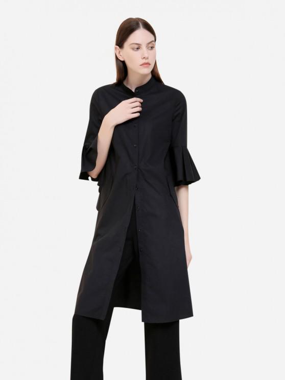 ZAN.STYLE Button Front Knee Length Ruffed Sleeve Dress - 黑色 XL