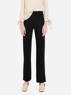 ZAN.STYLE Wide Leg Side Stripe Palazzo Pants - Black S
