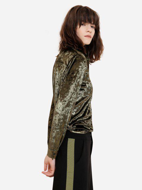 fashion ZAN.STYLE Long Sleeve Button Front Velet Shirt - BLACKISH GREEN XL Mobile