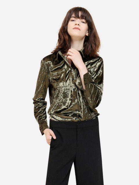 women's ZAN.STYLE Long Sleeve Button Front Velet Shirt - BLACKISH GREEN M Mobile