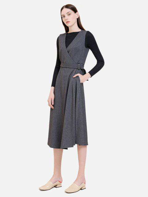 affordable ZAN.STYLE Sleeveless Belted Dress Coat - GRAY L Mobile