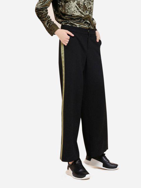 ZANSTYLE Pantalones Zumbadora Lateral de Palazzo de Pierna Ancha Verde - Negro S Mobile