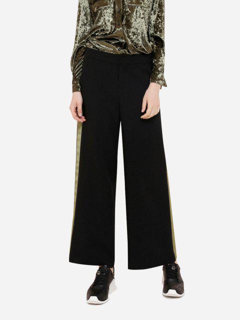 buy ZAN.STYLE Wide Leg Green Side Stripe Palazzo Pants - BLACK S Mobile