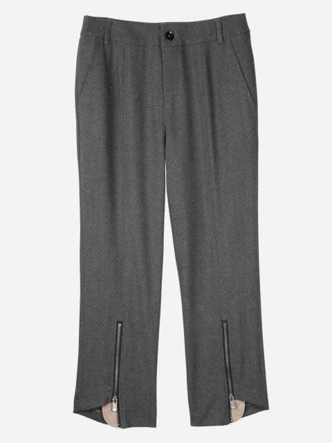 ladies ZAN.STYLE Side Pocket Cropped Pants - GRAY M Mobile