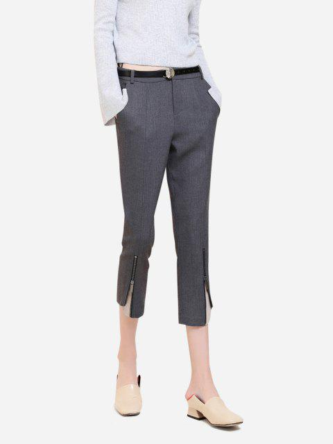online ZAN.STYLE Side Pocket Cropped Pants - GRAY S Mobile