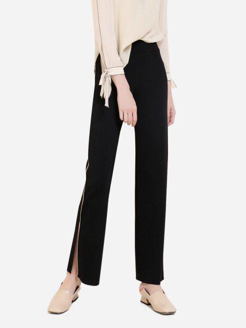 ZAN.STYLE Wide Leg Side Stripe Palazzo Pants - 黑色 M Mobile