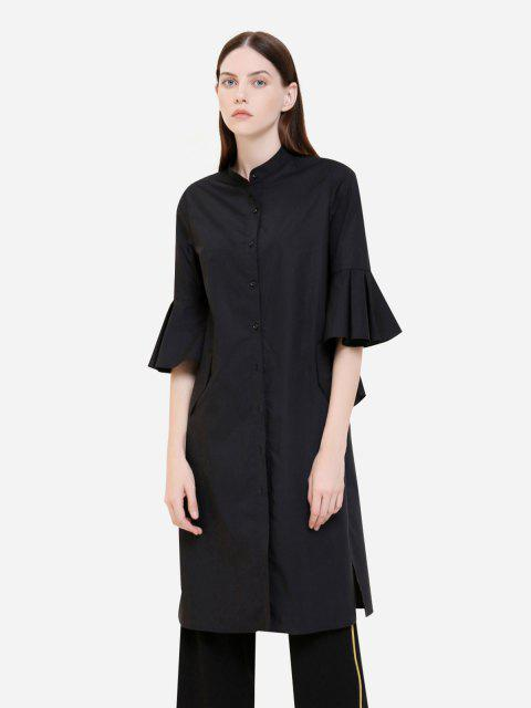 hot ZAN.STYLE Button Front Knee Length Ruffed Sleeve Dress - BLACK XL Mobile