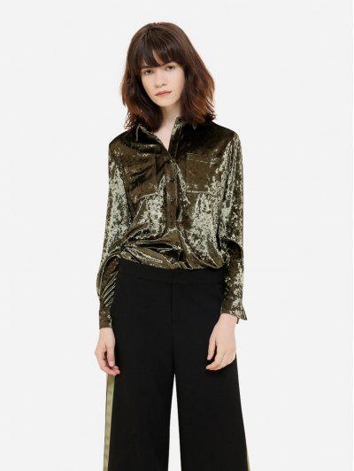 ZAN.STYLE Long Sleeve Button Front Velet Shirt - Blackish Green L