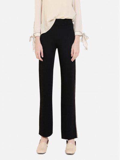 ZAN.STYLE Wide Leg Side Stripe Palazzo Pants - Black L