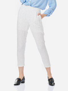 ZAN.STYLE Cheville Longueur Pantalon Plissé - Blanc M