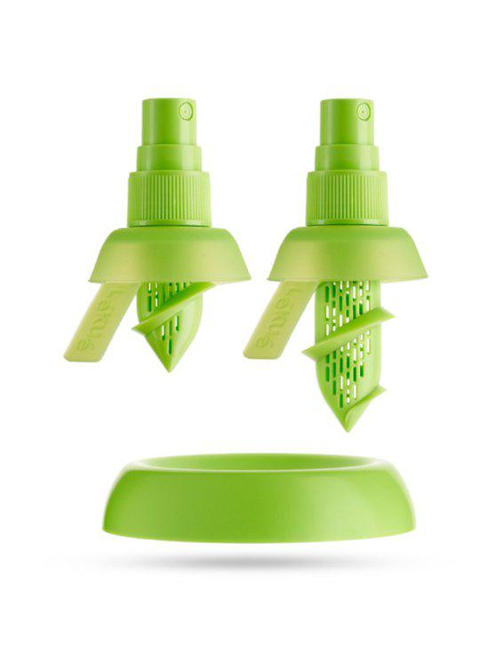 women 2PCS Multi-functional Citrus Sprayer Manual Lemon Fruit Juice Squeezer Reamer Tools - GREEN