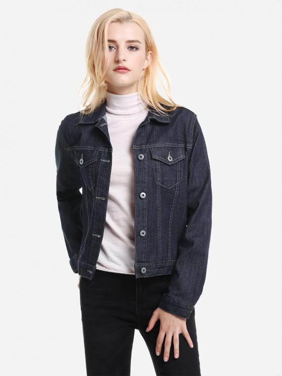 latest ZAN.STYLE Button Front Denim Jacket - DARK BLUE M