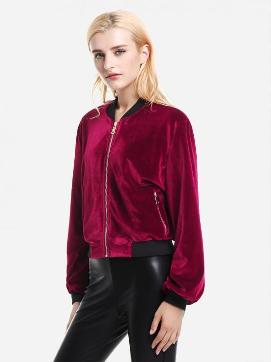 women's ZAN.STYLE Ribbed Trim Velvet Jacket - WINE RED M