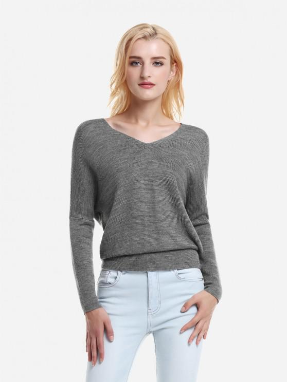 hot ZAN.STYLE V Neck Dolman Sleeve Sweater Knitwear - GRAY M