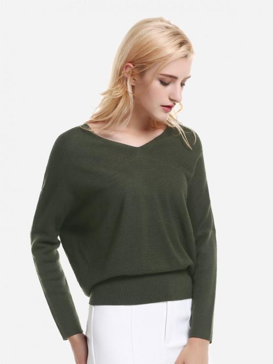 fashion ZAN.STYLE V Neck Dolman Sleeve Sweater Knitwear - GREEN L