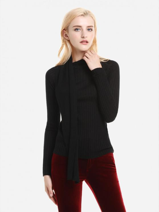 women's ZAN.STYLE Shawl Neck Slim Fit Textured Sweater - BLACK L