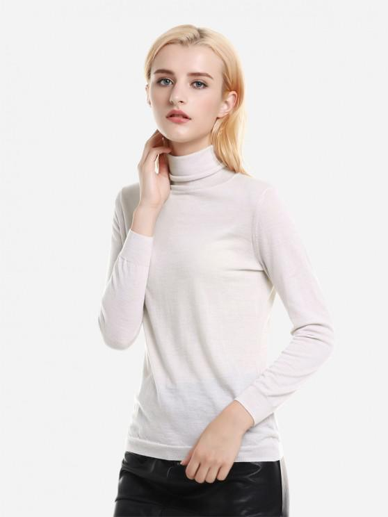 latest Ribbed Wool Turtleneck Sweater - APRICOT S