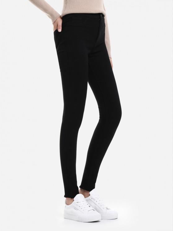 Pantalones vaqueros delgados del Knit del estiramiento - Negro M