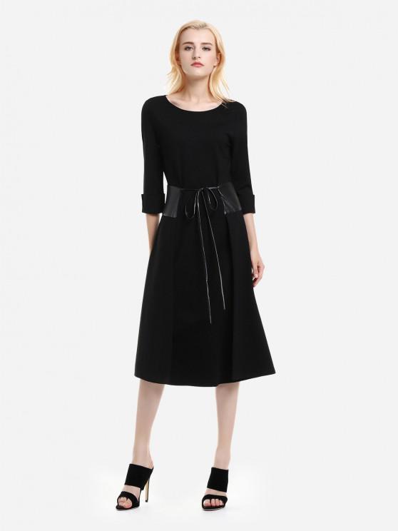 تحت الركبة فستان طويل الأكمام - أسود L