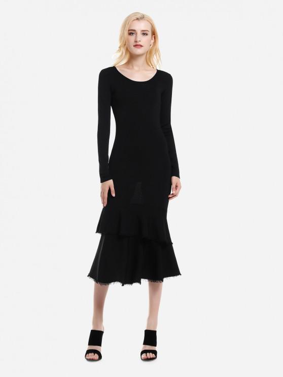 Robe Pull Maigre Ajustée à Manches Longues - Noir L