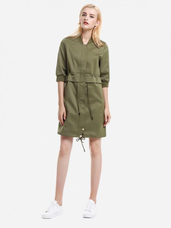 ZAN.STYLE Zipper Coat Dress - الجيش الأخضر M
