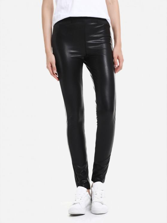 lady ZAN.STYLE Leather Leggings with Elasticized Waist - BLACK 2XL
