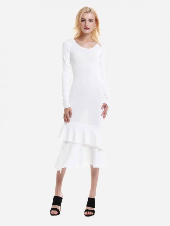 Robe Pull Maigre Ajustée à Manches Longues - Blanc M